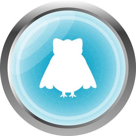 siluetas: Owl web icon button isolated on white Illustration