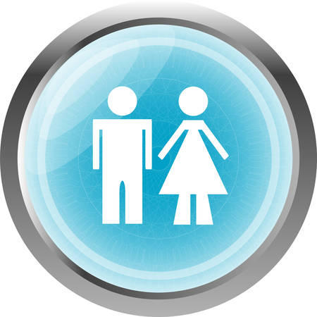 woman isolated: icon toilet button, Man and Woman, isolated on white