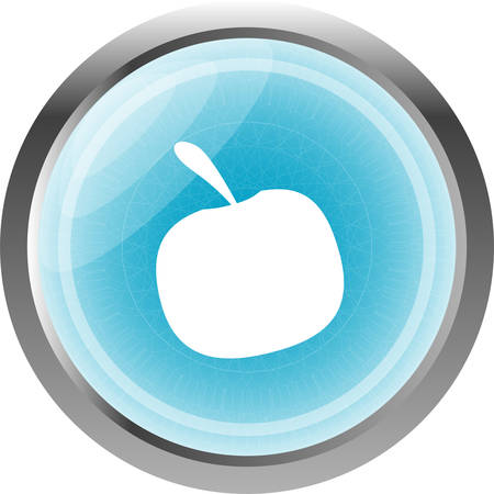 Apple icon on round button collection isolated on white Vector