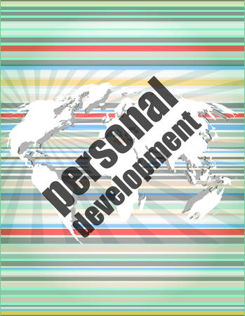personal development: word personal development on digital screen 3d Illustration
