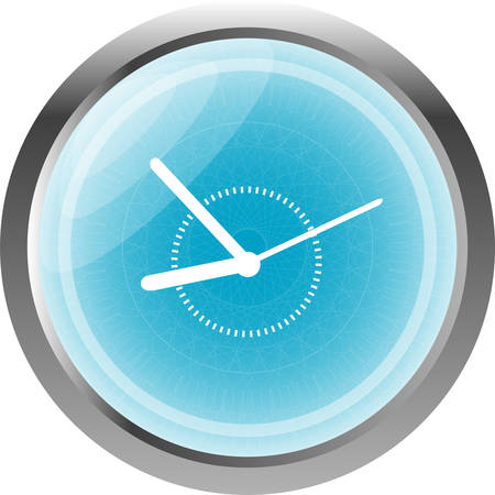phone the clock: Clock icon web button sign isolated on white Illustration