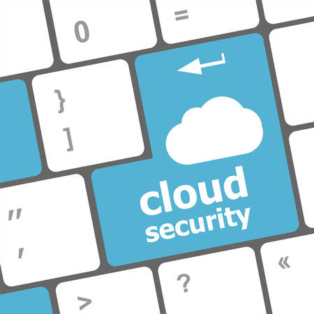 computer language: Cloud security concept showing cloud icon on computer key
