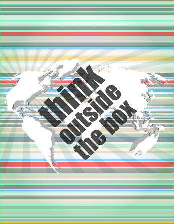 outside the box: think outside the box words on digital touch screen