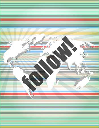 microblog: Social media concept: words Follow on digital background