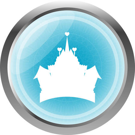 chateau: royal castle icon web button isolated on white