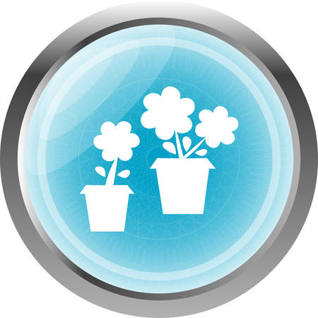 commercial tree care: Flowerpot with flower icon isolated on white