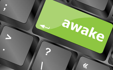 awake: awake word on keyboard key, notebook computer Illustration