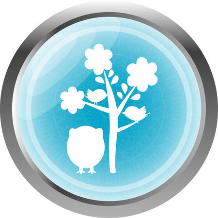 button with owl and tree, isolated on white Vector