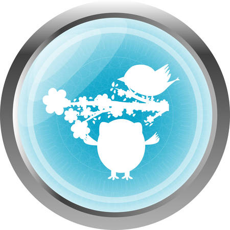button with owl, bird and tree, isolated on white Vector