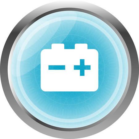 accuse: battery web glossy icon button isolated on white Illustration