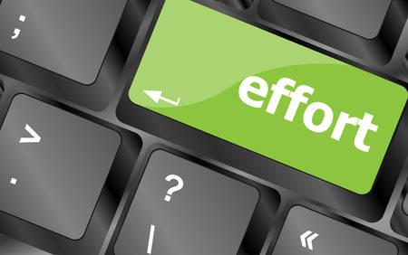 computer button: effort word on keyboard key, notebook computer button Illustration