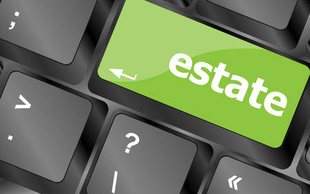computer button: estate word on keyboard key, notebook computer button Illustration