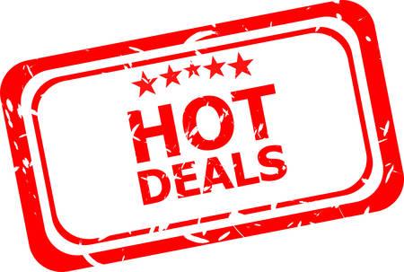 hot deal: Grunge hot deal rubber stamp, vector illustration Illustration