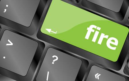 button computer: palabra fuego contra tecla del teclado, bot�n del ordenador port�til
