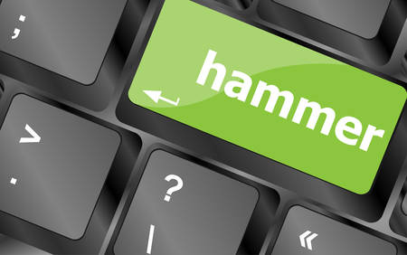 tommy: hammer word on computer pc keyboard key