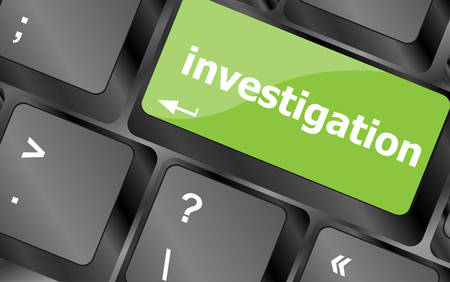 investigation - business concept. button on modern computer keyboard Vector