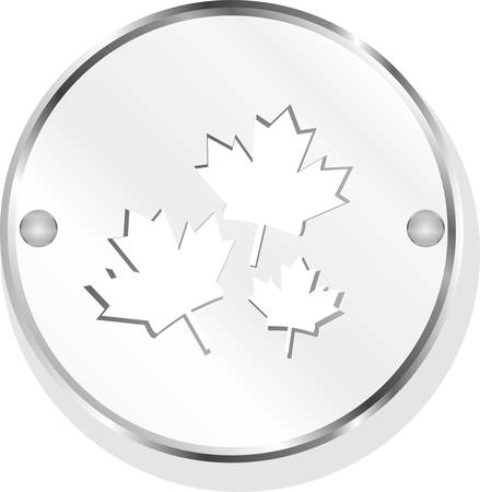 Metal button with mapple leaf sign set vector Vector