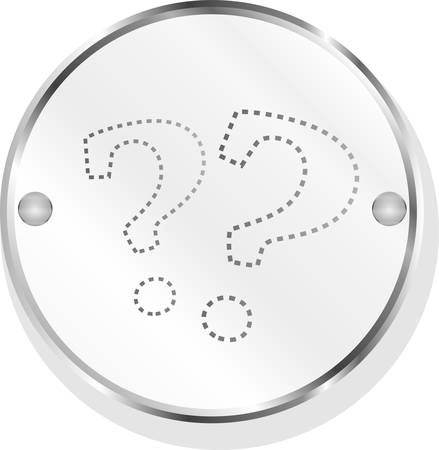 Stylish button with question mark, isolated on white vector Vettoriali