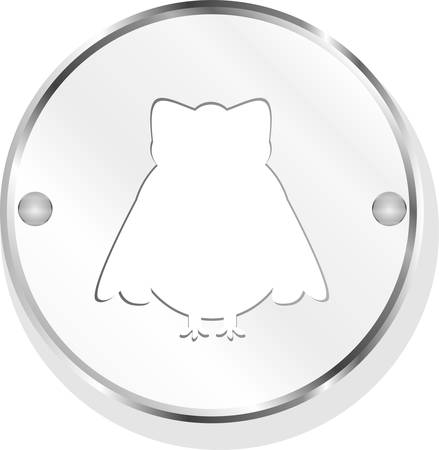 Owl web icon button isolated on white vector