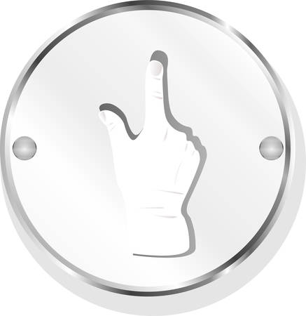 metallic button: Close up of a metallic button with a hand and thumbs up symbol, blue light effect, white background vector Illustration