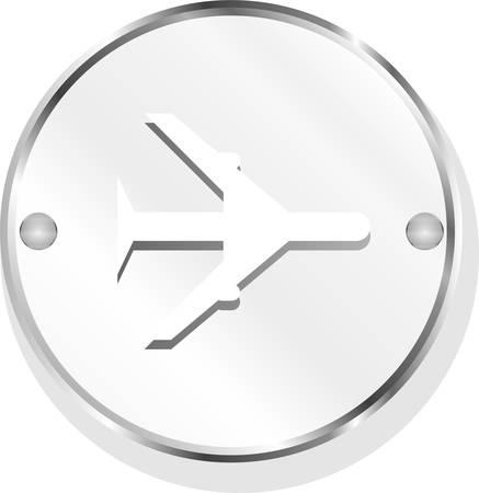 metallic background: metallic airplane icon on a white background vector