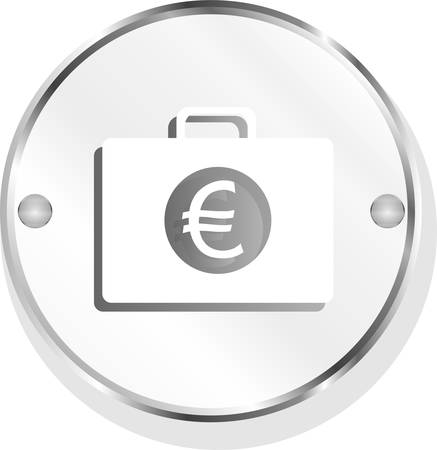 euro case button, financial icon isolated on white background vector Vector