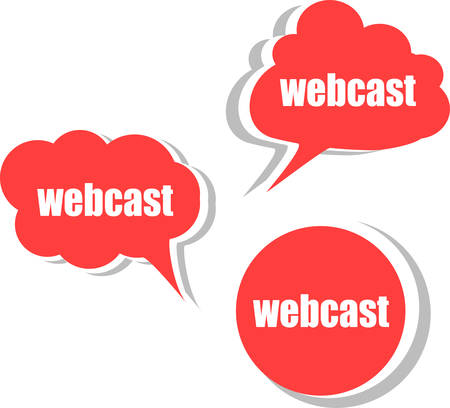 webcast: webcast word on modern banner design template. set of stickers, labels, tags, clouds vector