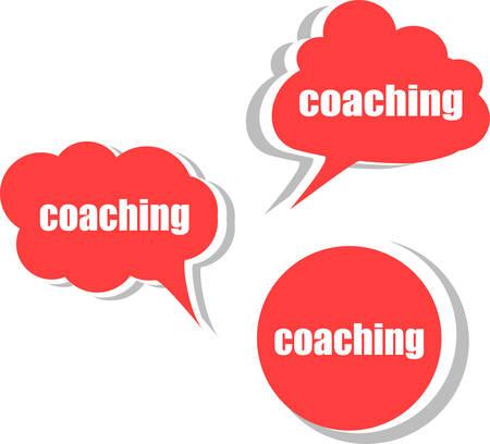 coaching: le coaching mot sur moderne mod�le de conception de la banni�re. Jeu d'autocollants, �tiquettes, tags, nuages ??vecteur