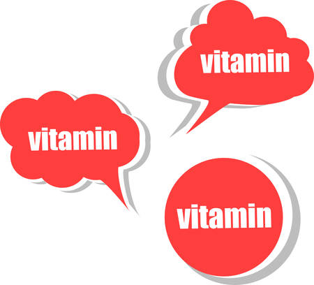 corner tab: vitamin. Set of stickers, labels, tags. Template for infographics vector