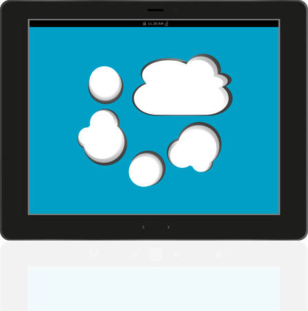 accessing: Cloud-computing connection on the digital tablet pc. Conceptual image. Isolated on white vector Illustration