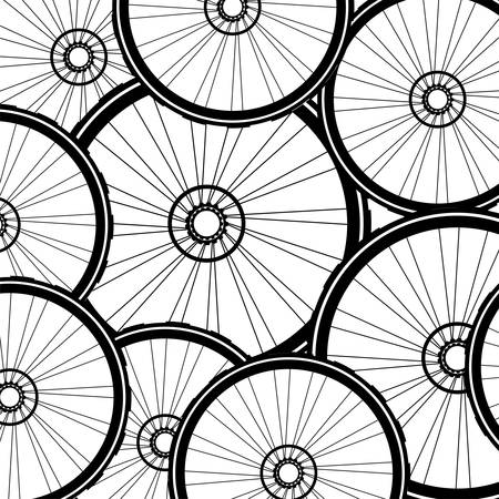 off road biking: vector road and mountain bike wheels and tires pattern