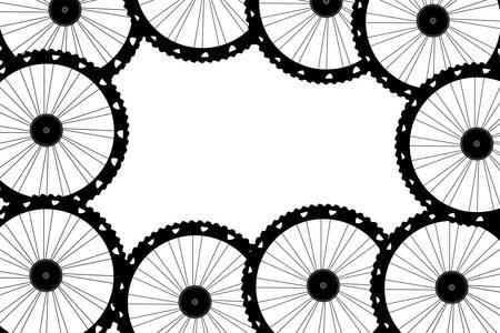 velocipede: vector bike wheels background pattern. Pattern of bicycle wheels.