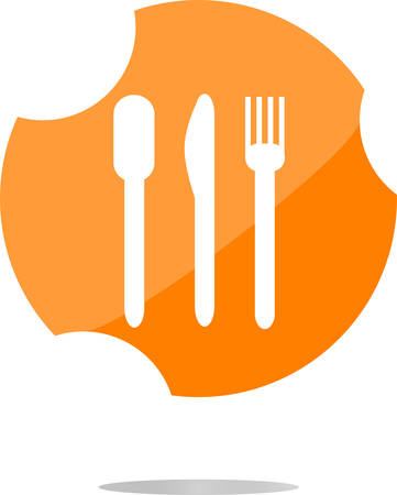 fork and knife. Eat sign icon. Cutlery etiquette rules symbol. Circle and square buttons. Flat design set. Illustration
