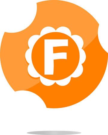 letter f: Letter f in a flat  button vector illustration