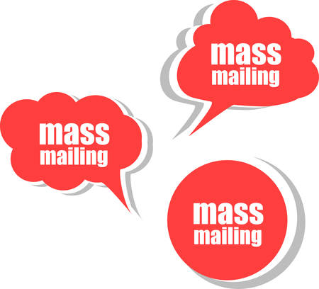 mailing: mass mailing. Set of stickers, labels, tags. Business banners vector