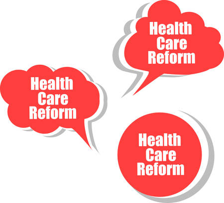 reform: health care reform, Set of stickers, labels, tags. Template for infographics vector Illustration