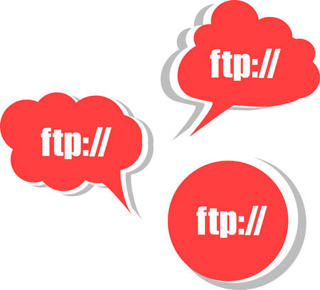 ftp: ftp. Set of stickers, labels, tags. Business banners vector