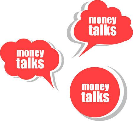 conversaciones: el dinero habla. Conjunto de pegatinas, etiquetas, etiquetas. Banderas del asunto del vector