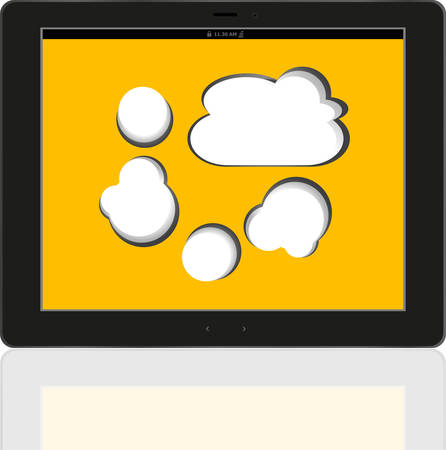 accessing: Cloud-computing connection on the digital tablet pc. Conceptual image vector