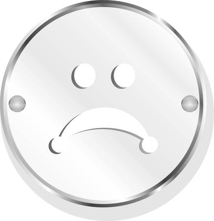 despondent: vector Sad icon (button) isolated on white background