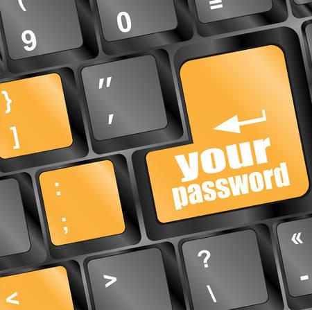 protecting your business: su bot�n de contrase�a en las teclas del teclado - vector concepto de seguridad Vectores