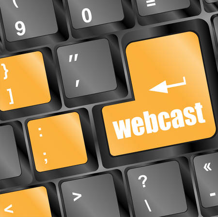 webcast: keyboard key with webcast web button vector Illustration