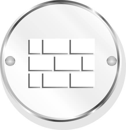 genteel: vector stone wall icon button isolated on white Illustration
