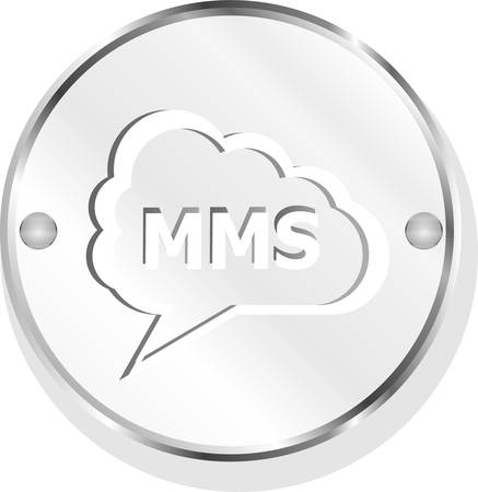 mms: vector mms glossy web icon isolated on white background Illustration