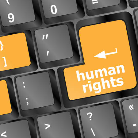 information technology law: human rights button on computer keyboard pc key vector Illustration