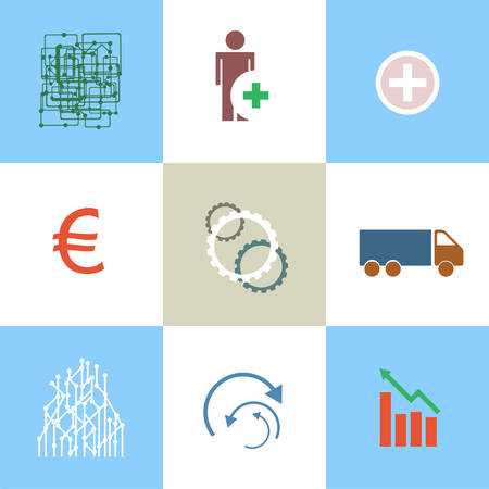 Line icons set with flat design elements of business people communication, professional support, partnership agreement, solving management problems. Modern vector pictogram collection concept. Vector