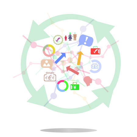 prospects: vector thin line icon with flat design element of business chart, success corporation stats, corporate data, market analysis, pie graph, development prospects. Modern style vector logo concept Illustration
