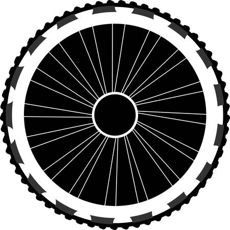 motoring: silhouette of a bicycle wheel Illustration