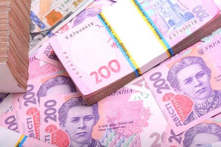 ukrainian: Pile of ukrainian money grivna Stock Photo