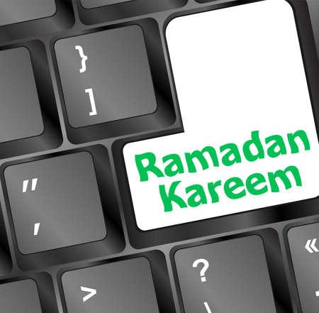 key words art: Computer keyboard with ramadan kareem word on it